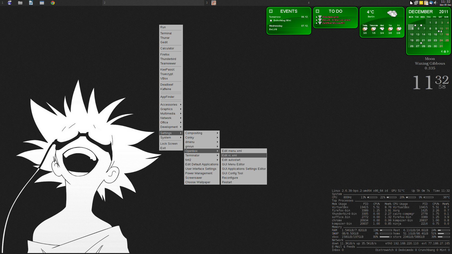 Deskopshot whith menu